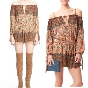 Free people off the shoulder apricot romper